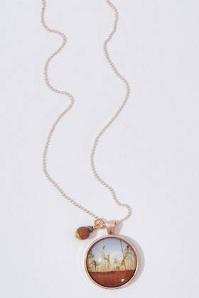 Nest Of Pambula Dusk Pendant With Wooden Beads Necklace