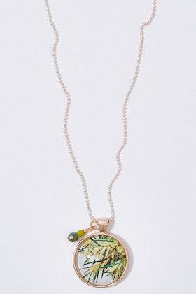 Nest Of Pambula Wattle Pendant With Geometric Beads Necklace