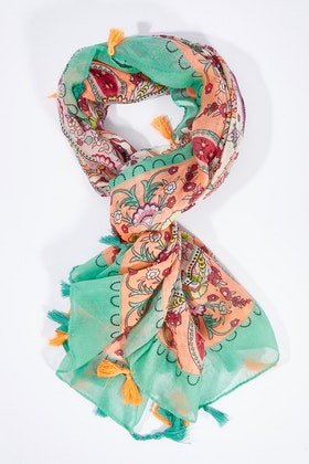 Greenwood Designs Square Scarf With Tassels