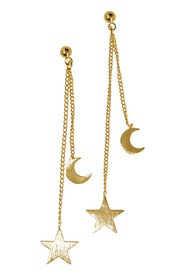 Hanging Star And Moon Earrings