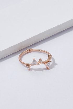 Jolie & Deen Swarovski Triangle Ring