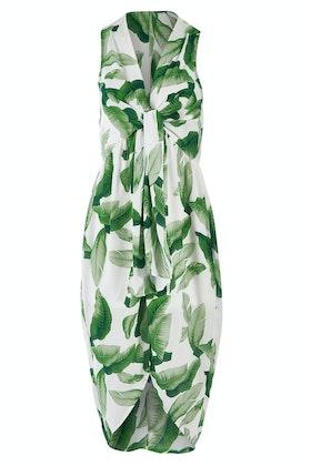 Spicy Sugar Tie Front Leaf Dress