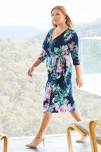 Belle bird Belle Winter Floral Wrap Dress
