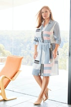Belle bird Belle Pink Squares Shirt Dress