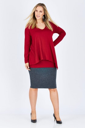 Belle bird Belle Textured Pencil Skirt