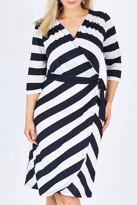 Belle bird Belle Wide Stripe Wrap Dress