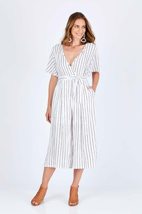 Spicy Sugar Striped Wrap Over Jumpsuit