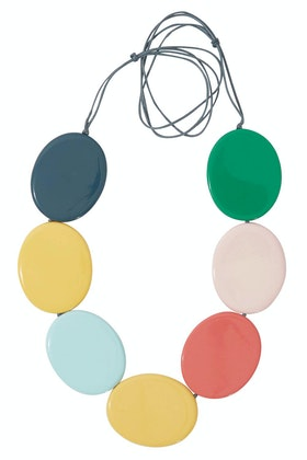Ruby Olive Contrast Flat Disc Necklace