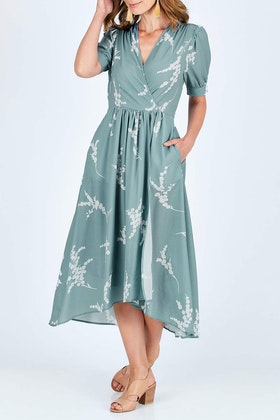 Spicy Sugar Blossom Print Wrap Dress