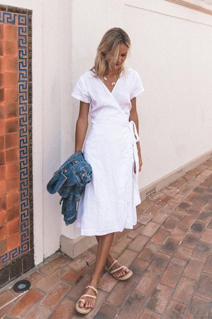 27e492932723b JAG clothing Hammam Linen Wrap Dress - Womens Calf Length ...