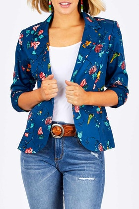 handpicked by birds Printed Blazer