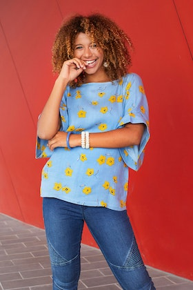 handpicked by birds Tie Back Bell Sleeve Top