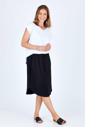bird keepers The Midi Curved Hem Skirt