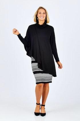 Cordelia St Wide Stripe Cape Dress