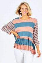 handpicked by birds Hem Frill Stripe Top