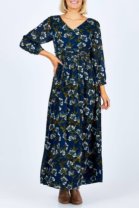 that bird label Emma Dress Midnight Botanical