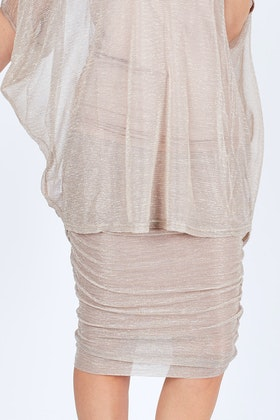 PQ Collection Metallic Midi Ruche Skirt