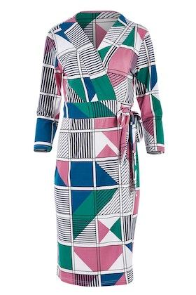 Belle bird Belle Pink Geometric Wrap Dress