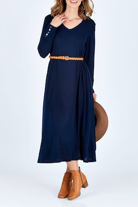 bird keepers The Button Detail Midi Dress