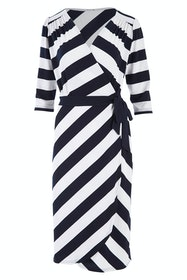 Belle Wide Stripe Wrap Dress