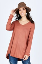 boho bird Long Sleeve Softly Swinging Bamboo Tee