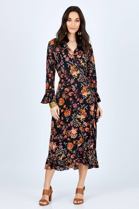 boho bird Swanning Around Wrap Dress