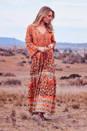 boho bird Autumn Breeze Maxi Dress