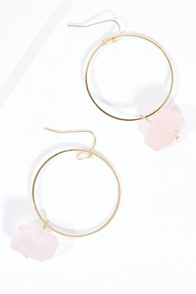 GxG Collective Danielle Hoop Raw Quartz Earrings