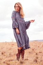 boho bird Folklore Embroidered Dress