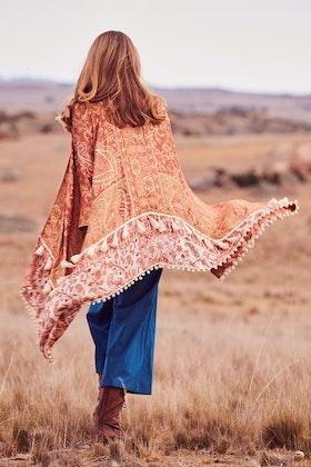 boho bird Open Plains Kimono Throw