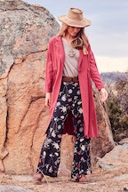 boho bird Flower Field Wide Leg Pants