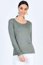 boho bird Layer Me Bamboo Rouched Sleeve Tee