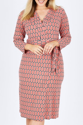 Belle bird Belle Hexagon Print Wrap Dress