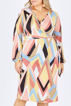 Belle bird Belle Pastel Geometric Wrap Dress