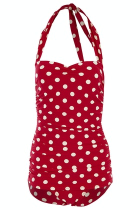 Esther Williams Swimwear Polka Dot Classic Sheath One Piece