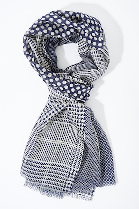 Greenwood Designs Check And Dots Wool Scarf