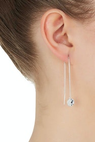 Double Beat Thread Sterling Silver Earrings