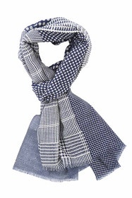 Check And Dots Wool Scarf