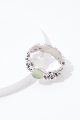 Najo Braid Sterling Silver Prehnite Ring