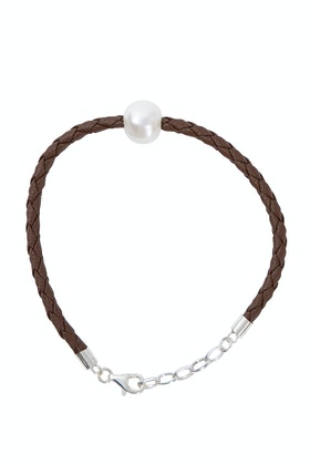 Lush Designs Billie Pearl Brown Braided Bracelet