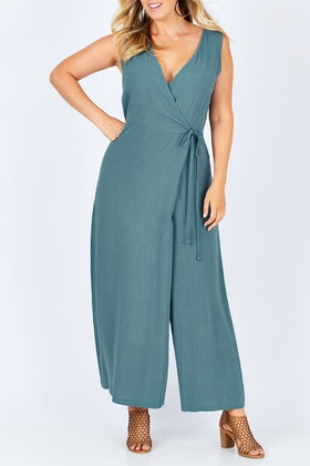 boho bird Illusion Faux Wrap Jumpsuit