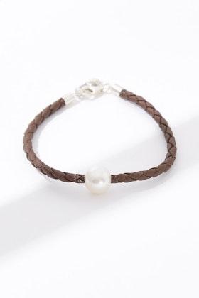 Lush Designs Billie Pearl Brown Braided Bracelet