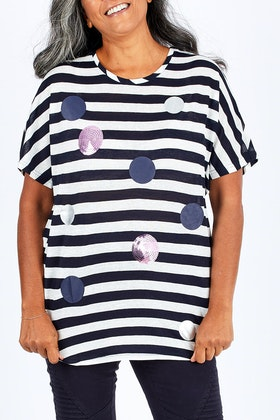 Clarity By Threadz Multi Sequin Dot Stripe Top