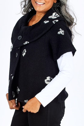 See Saw Collared Crop Coat