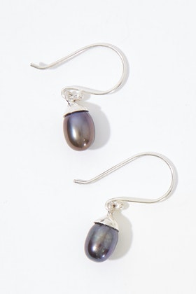 Lush Designs Dainty Drop Black Pearl Earrings