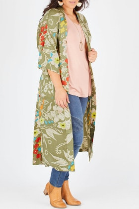 boho bird To The Beat Of The Drum Kimono