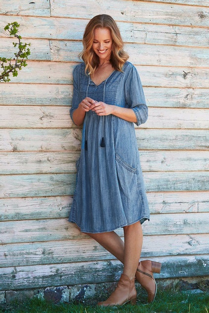 02f663ed11a Orientique Smocked Denim Dress - Womens Knee Length Dresses at ...
