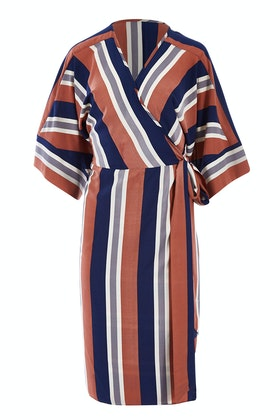 Belle bird Belle Woven Stripe Kimono Dress