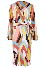 Belle Pastel Geometric Wrap Dress