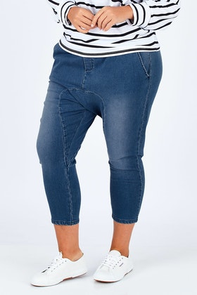boho bird Just Chillin Stretch Dropped Crotch Jeans